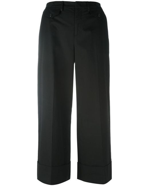 N°21 - Black Wide-legged Cropped Trousers - Lyst
