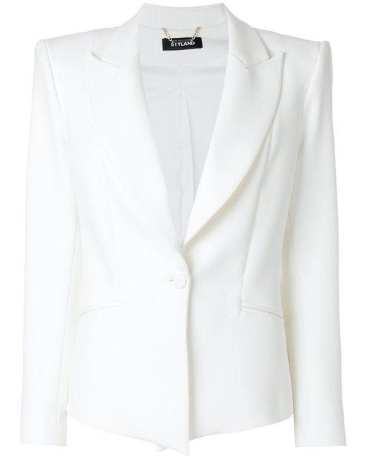 Styland - White Structured Button Up Blazer - Lyst