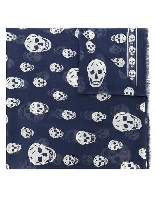 Alexander McQueen - Blue Classic Skull Scarf for Men - Lyst