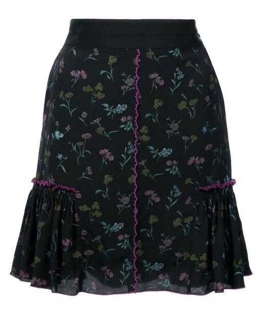 COACH - Black Floral Bow Print Skirt - Lyst