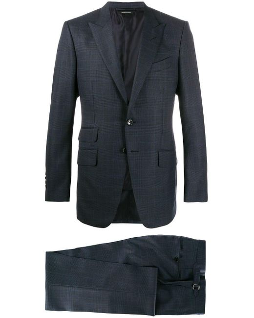 Tom Ford Blue Micro Check Print Suit for men