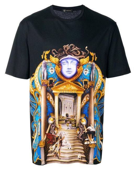 Lyst Versace Palace Print T Shirt In Black For Men