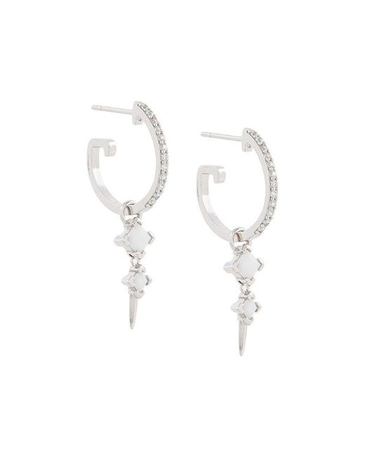 V Jewellery - Metallic Bonnie Dropper Earrings On Maxi Hoops - Lyst