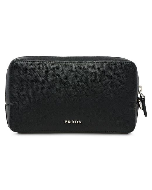 cedf24ef900a Prada - Black Leather Cellphone Case for Men - Lyst ...