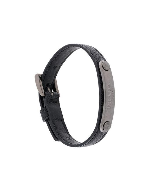Prada - Black Logo Plaque Bracelet for Men - Lyst