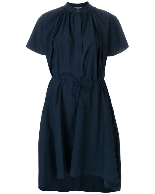 Jil Sander - Blue Pleat Detail Shirt Dress - Lyst