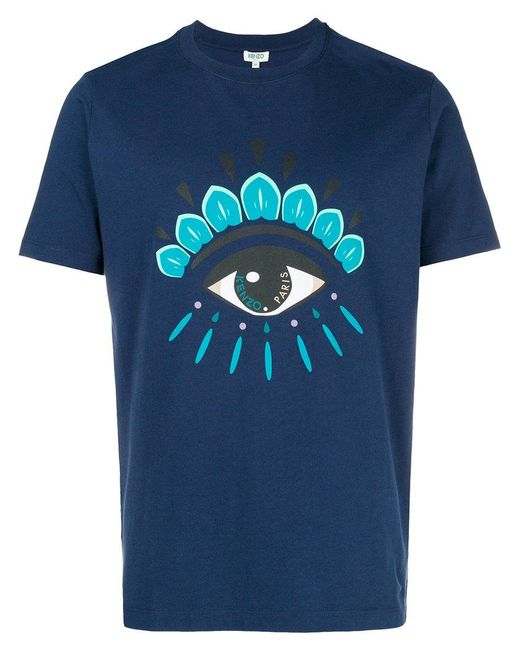 8e10e678d0a4 KENZO - Blue Front Eye Printed T-shirt for Men - Lyst ...