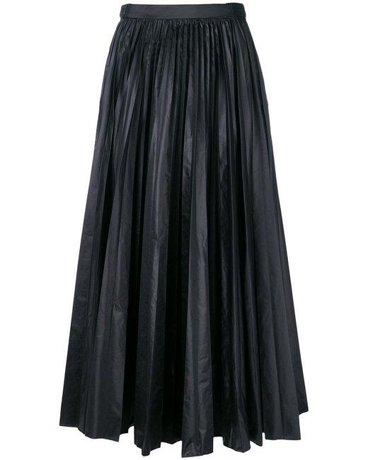Prada - Black Pleated Midi Skirt - Lyst