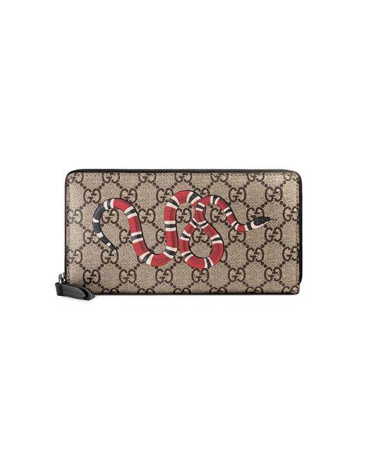 5f237f4caaed Gucci - Multicolor Snake Print GG Supreme Zip Around Wallet for Men - Lyst  ...