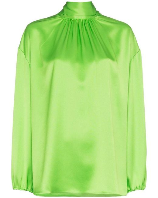 ff2321d2d1e239 Prada High Neck Tie Back Silk Blouse in Green - Save 60% - Lyst