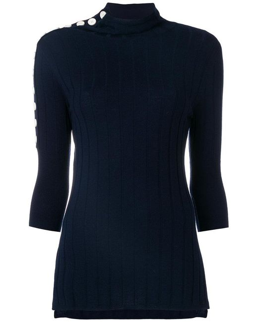 Eudon Choi - Blue Turtle Neck Knitted Top - Lyst