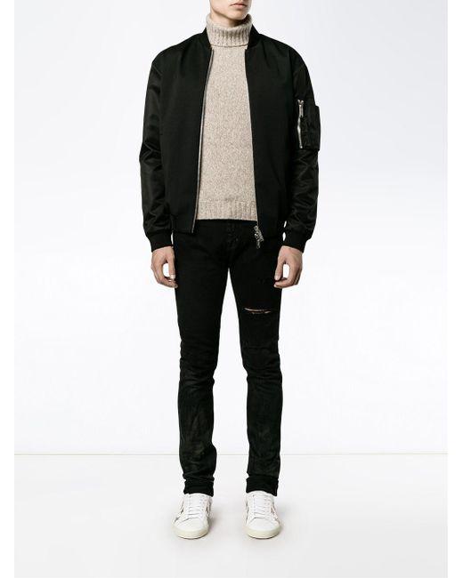 ac3902a9e2b ... Saint Laurent - Blackened Blue Wash Distressed Slim Fit Jeans for Men -  Lyst ...