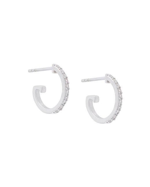 V Jewellery | Metallic Mini Crystal Hoop Earrings | Lyst