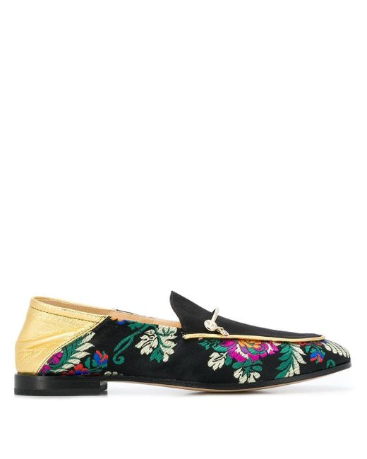 Fabi Black Floral Embroidered Loafers