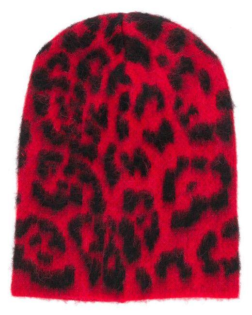 Laneus - Red Leopard Print Beanie - Lyst