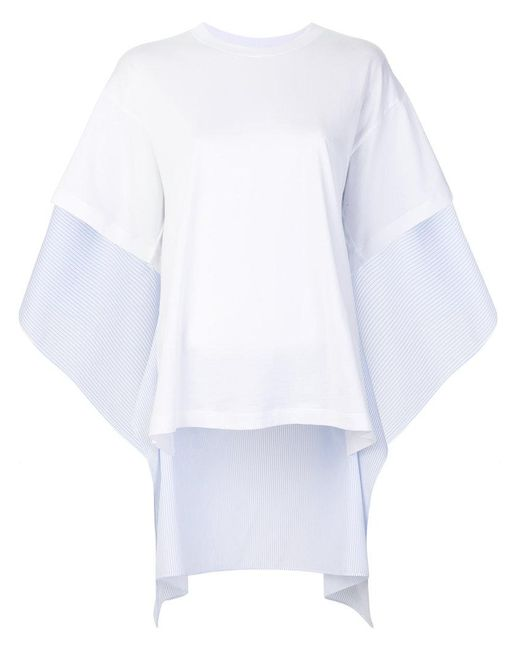 MM6 by Maison Martin Margiela - White Draped T-shirt - Lyst