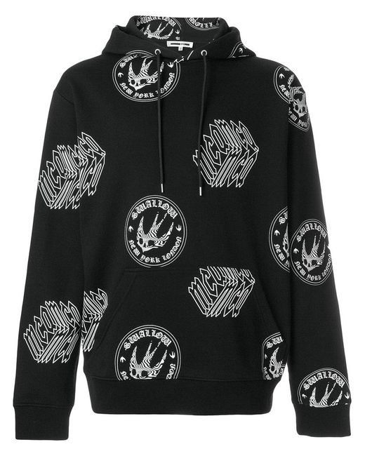 McQ Alexander McQueen - Black Graphic Logo Swallow Print Hoodie for Men - Lyst