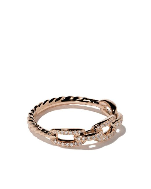 David Yurman - Metallic 18kt Rose Gold Stax Single Row Pavé Diamond Chain Link Ring - Lyst