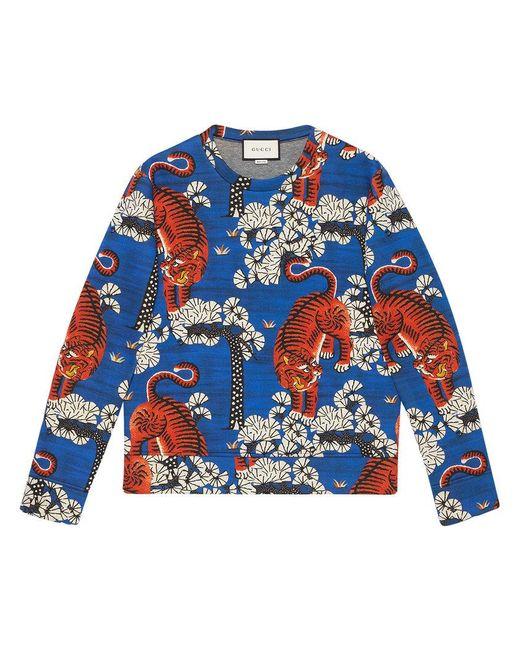 Gucci   Blue Bengal Print Sweatshirt for Men   Lyst
