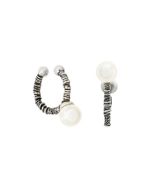 Saint Laurent - Metallic Pearl Coil Earrings - Lyst