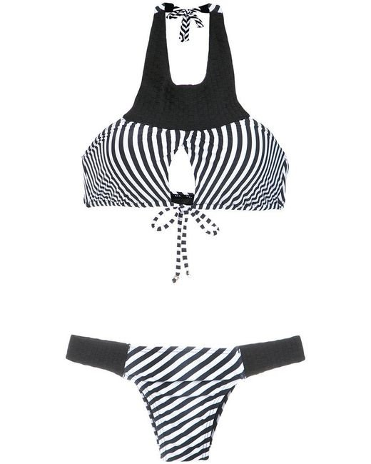 Amir Slama - Black Striped Bikini Set - Lyst