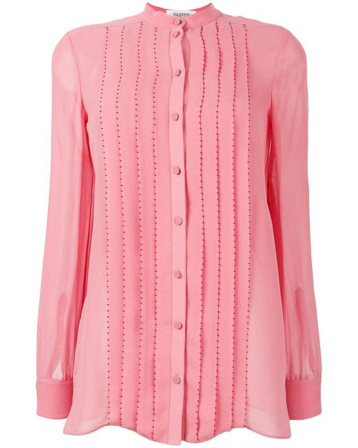 Valentino - Pink Pleated Silk Blouse - Lyst