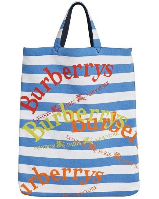 Burberry - Blue Archive Logo Striped Shopper - Lyst
