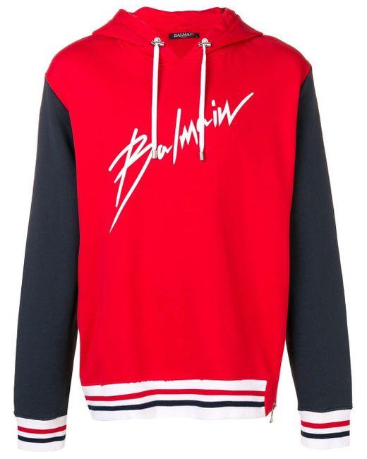 Sweat à capuche à logo Balmain pour homme en coloris Red