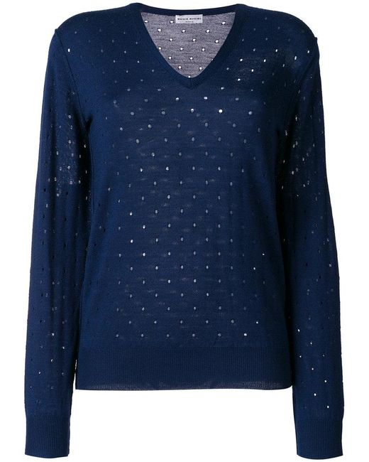 Sonia Rykiel - Blue Elbow Patch Embroidered Cutout Detailed Sweater - Lyst