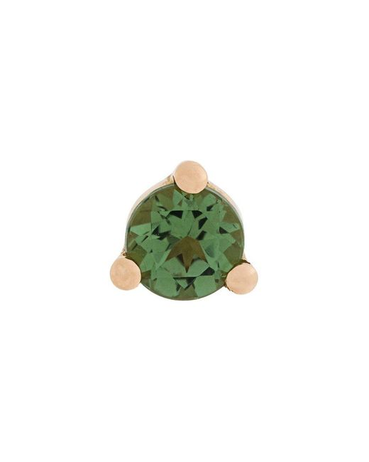 Delfina Delettrez - Green Dots Solitaire Tourmaline And Pearl Earring - Lyst
