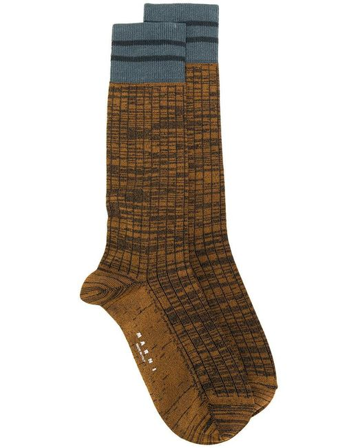 Marni - Brown Marl Socks With Stripes for Men - Lyst