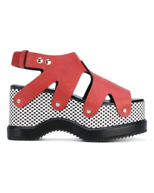 Proenza Schouler - Red Patterned Platform Sole Sandals - Lyst