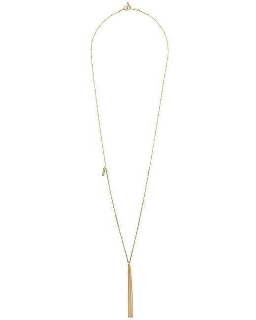 Amazona Secrets 18kt Gold Uvaia Leaf Tie Necklace With Freshwater Pearl, Yellow Jade & Green Quartz