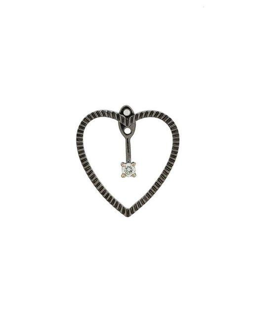 Yvonne Léon - Metallic 18kt Black Gold And Diamond Heart Earring - Lyst