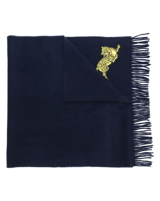 KENZO - Blue Tiger Embroidered Scarf - Lyst