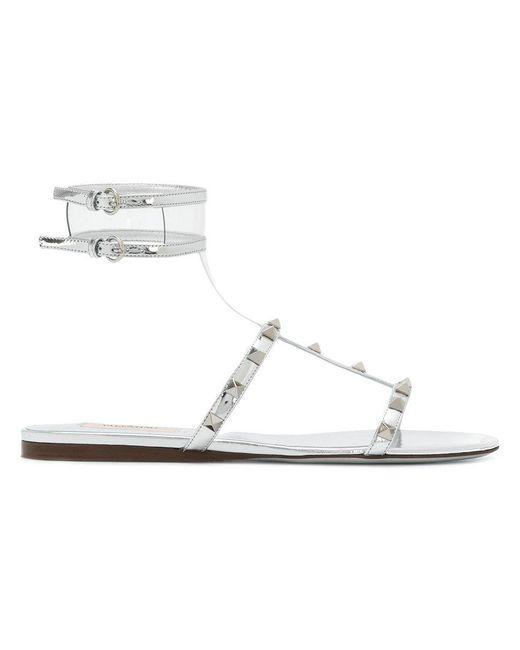 Valentino - Metallic Garavani Moonwalk Rockstud Sandals - Lyst