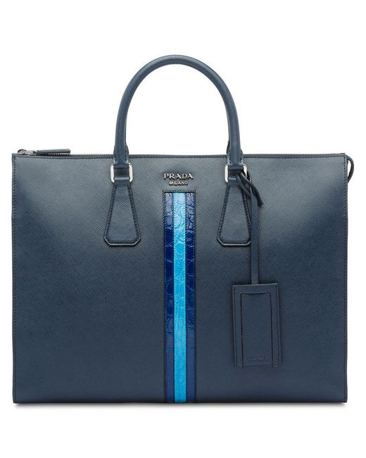86246d4bd2f5 Prada - Blue Saffiano Leather Briefcase for Men - Lyst ...