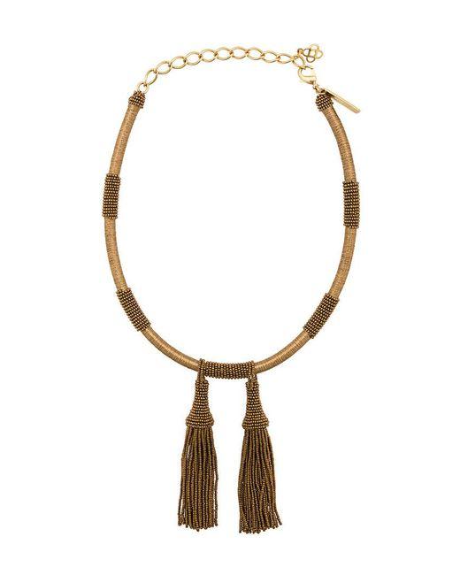 Oscar de la Renta | Metallic Wrapped Beaded Tassel Necklace | Lyst