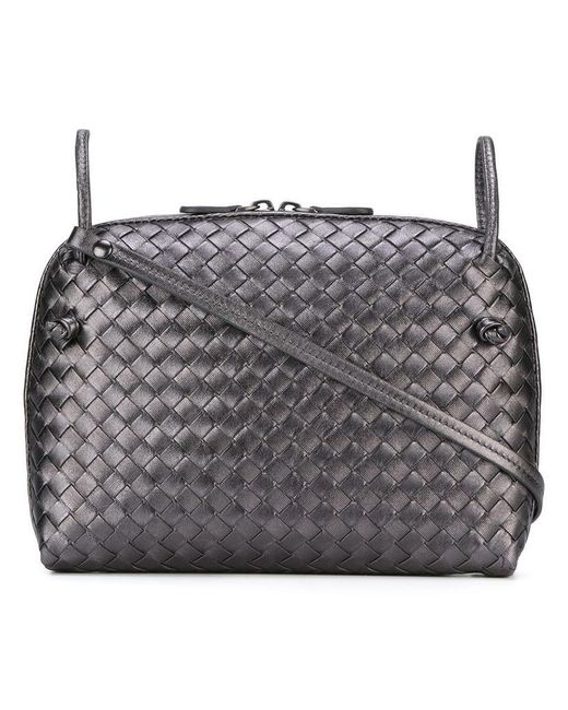213c9db8d6 Bottega Veneta - Gray Interlaced Leather Crossbody Bag - Lyst ...