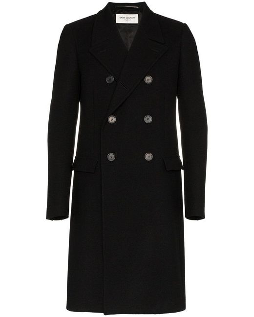 Saint Laurent - Black Double Breasted Wool Overcoat for Men - Lyst