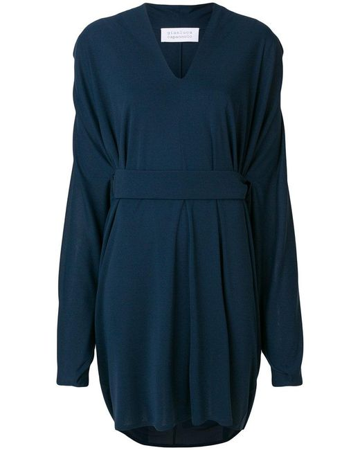 Gianluca Capannolo - Blue Cinched Waist V-neck Dress - Lyst