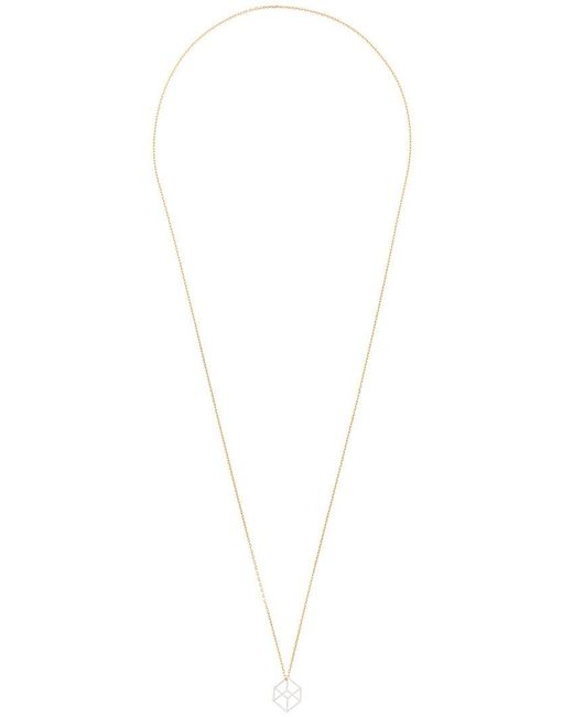 Noor Fares - Metallic Collana Con Pendente 'hollow Cube' - Lyst