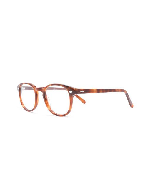 aa011a116d ... Lesca - Brown Tortoiseshell-effect Round Glasses - Lyst ...
