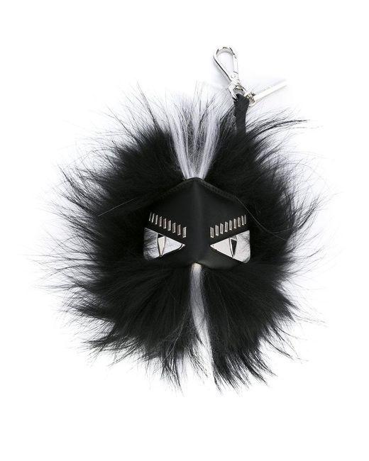 Fendi - Black Feather Trim Face Keyring for Men - Lyst