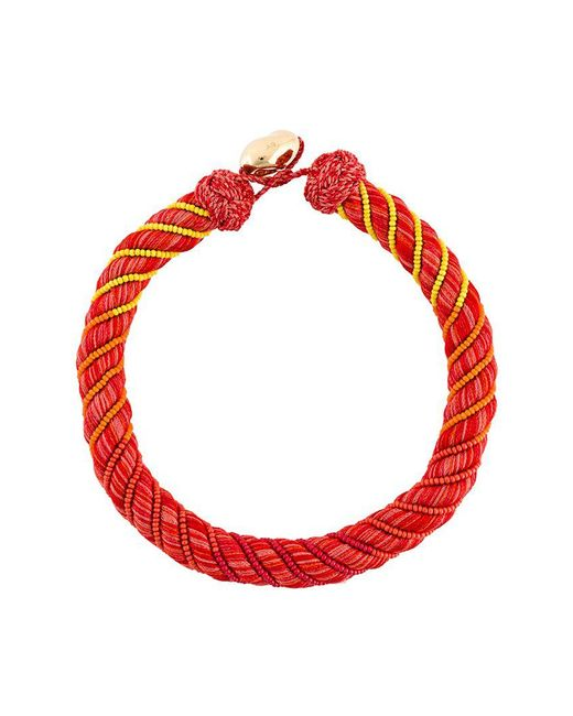 Aurelie Bidermann - Red Maya Beaded Silk Necklace - Lyst