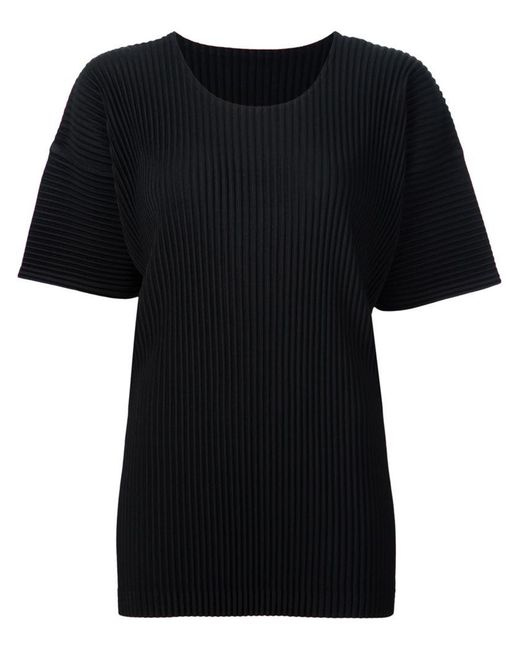 Homme Plissé Issey Miyake | Black Pleated T-shirt for Men | Lyst
