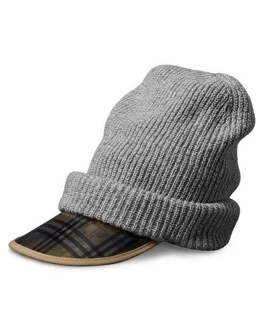 Burberry - Gray 1983 Check Wool Cashmere Peaked Beanie - Lyst