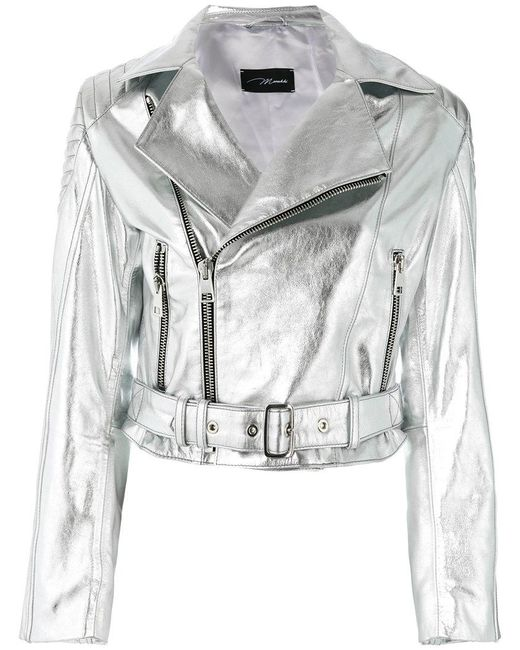 Manokhi - Metallic Leather Biker Jacket - Lyst
