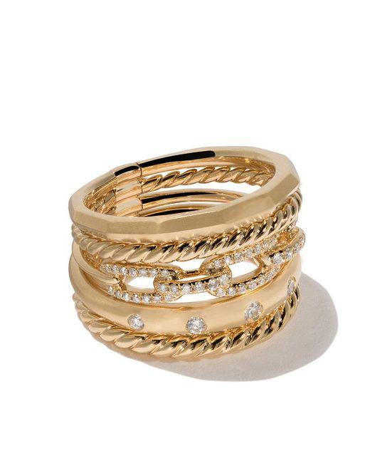 David Yurman - Metallic 18kt Yellow Gold Stax Diamond Wide Ring - Lyst