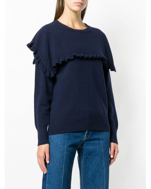 d03e22d2609e8 ... See By Chloé - Blue Round Neck Ruffle Sweater - Lyst ...